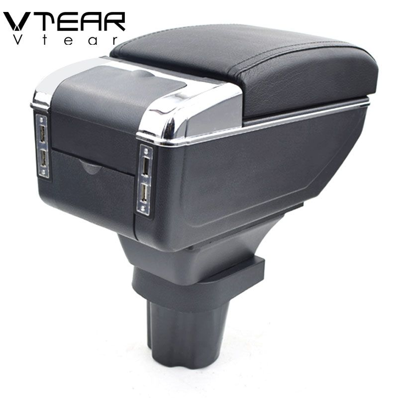 Vtear For nissan terrano armrest box USB Charging heighten Double layer central Store content cup holder ashtray accessories