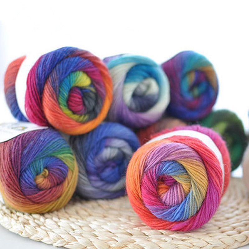 50g(180m)/Ball Rainbow Hand Knitting Merino Wool Yarn Fancy Dye Crochet Yarn DIY Scarf Shawl Yarn for Hand Knitting