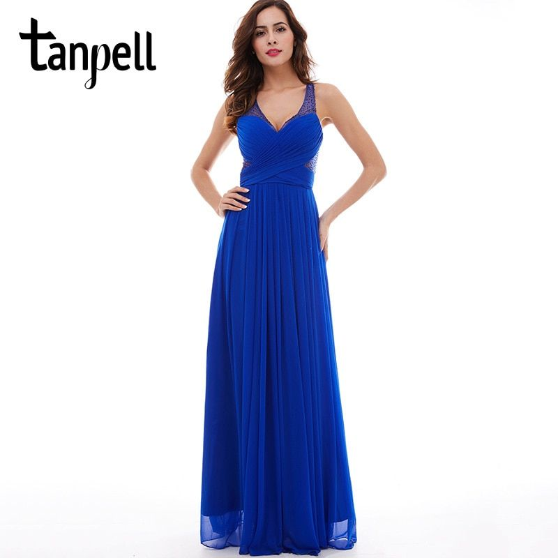 Tanpell V cuello largo vestido de noche azul real moldeado sin mangas piso de longitud una línea de vestidos de las mujeres Criss Cross correas noche vestido