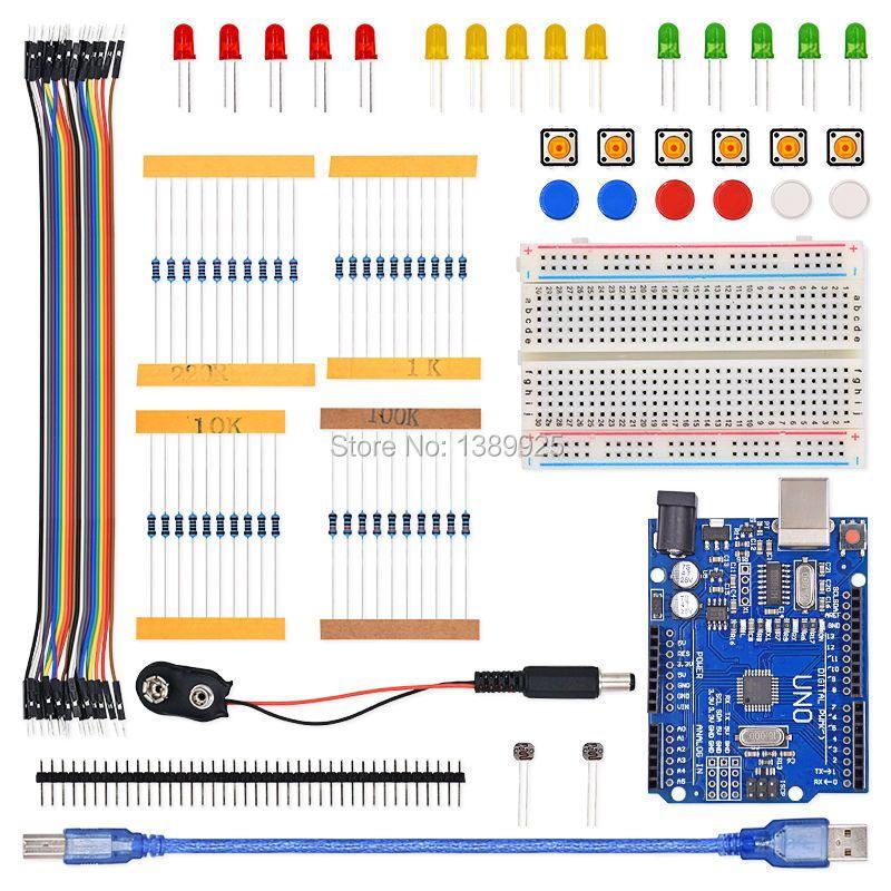 Envío Gratis 1 Unidades nuevo botón de cable de puente LED Kit de Inicio UNO R3 mini Breadboard para Ar-du-ino compatile