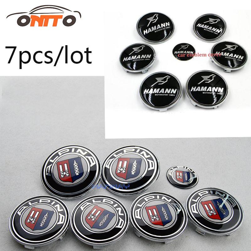 Good 7pcs Label Front Bonnet Trunk Cover Auto wheel cap Boot Logo Epoxy Resin Car steer wheel Center Badge Head Hood Emblem