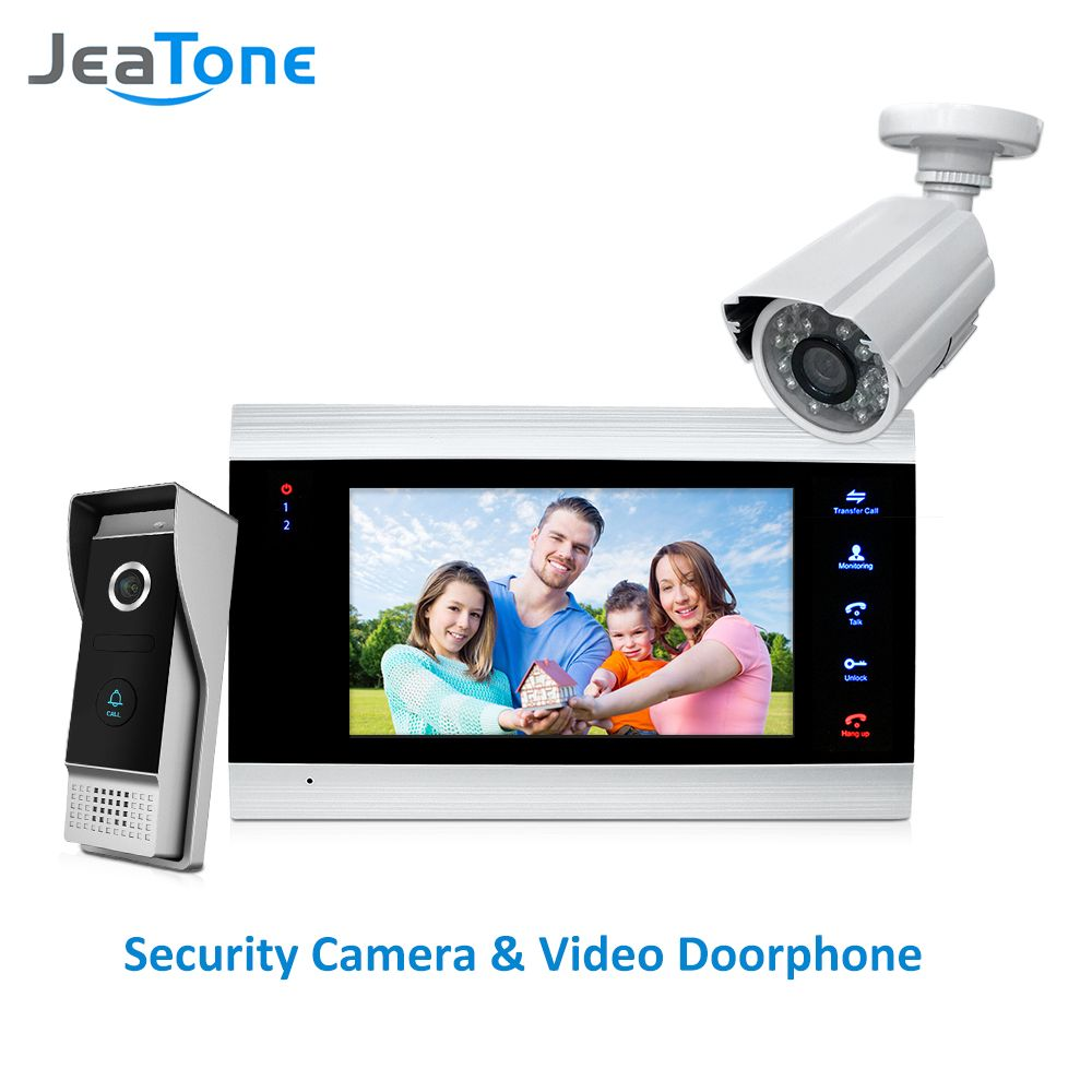 JeaTone 7 inch Video Door Phone Video Intercom 1200TVL Outdoor Call Panel + 1200TVL Analog Camera Access Control System Doorbell