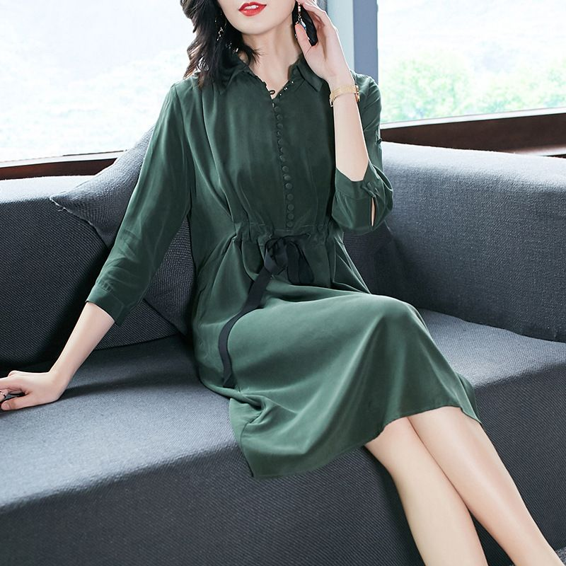 100% Silk solid loose shirt dress 2018 new runway women summer dress high quality office lady a line dress