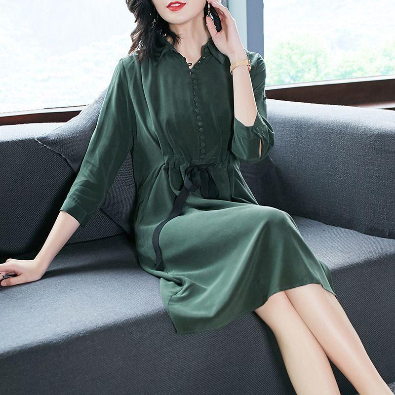 100% Silk solid loose shirt dress 2018 new runway women summer dress high quality office lady a line dress