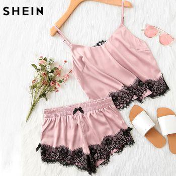 Шеин Розовый Спагетти ремень с аппликацией из кружева атласный Cami топ и шорты пижамный комплект осень женские пижамы
