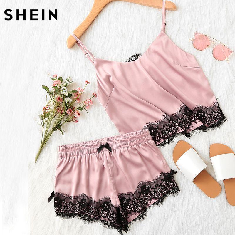 Шеин розовый ремень спагетти Кружево аппликация Satin Cami футболка и шорты пижамный комплект осень женские пижамы пижамный комплект