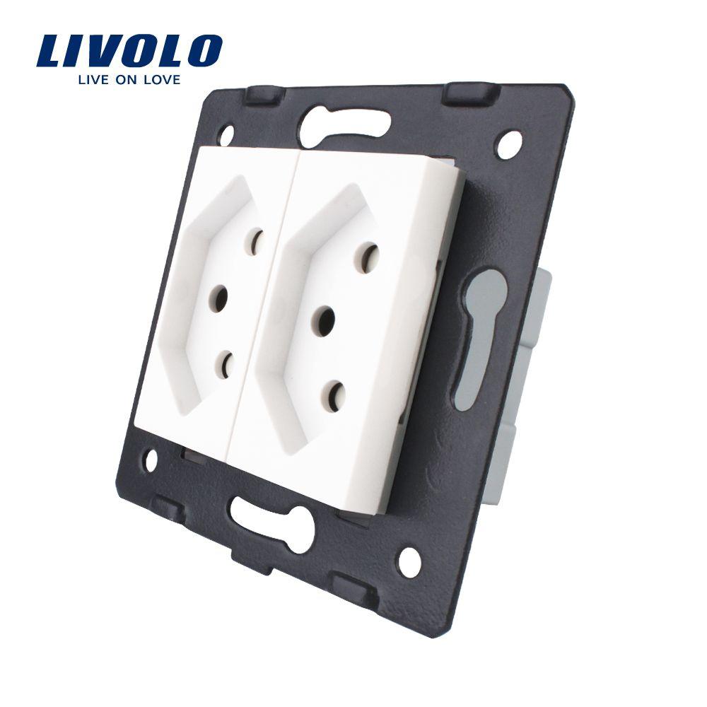 Livolo Buchse DIY Teile Weiß Kunststoff Materialien EU standard zwei banden Schweiz Funktion Schlüssel, VL-C7-C2CH-11