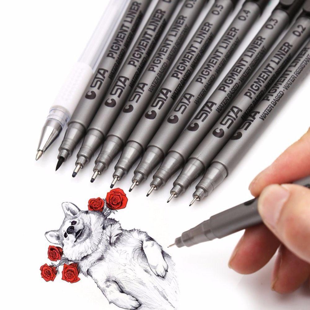 9 pcs/Lot différentes tailles de pointe noir Pigment Liner à base d'eau Art marqueur stylo pour dessin écriture Art fournitures papeterie