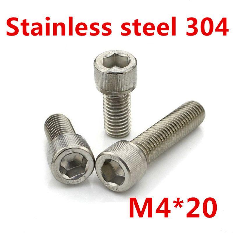 Free Shipping 100pcs/Lot Metric Thread DIN912 M4x20 mm M4*20 mm 304 Stainless Steel Hex Socket Head Cap Screw Bolts