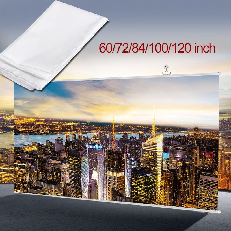 Foldable Projection Curtain 16:9 HD 60/72/84/100/120 inch Projector Screen Fiber Canvas Curtain for projector Film Home Theater