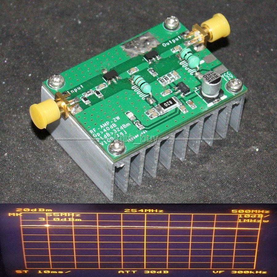 42dB 1 Mhz-800 Mhz 433 Mhz HF FM de transmisión RF UVF Lineal Del Amplificador de energía 2 W de transmisión de datos