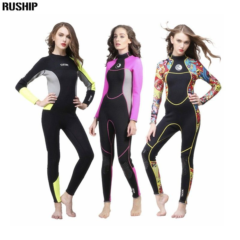 SEAC Women 3mm Neoprene High quality Wetsuit Thermal Scuba Diving Spearfishing One piece Wetsuits Surfing Slim Full Bodysuit