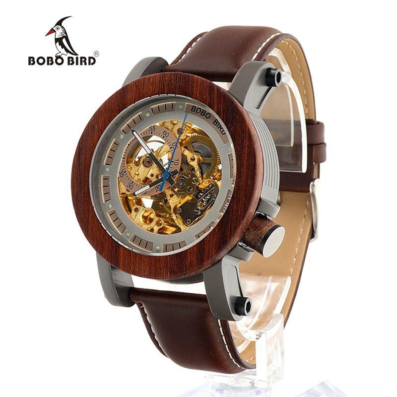 BOBO BIRD de luxe marque hommes montres mécaniques bracelet en cuir véritable montre bracelet relogio masculino montre en bois BoxesC-K12