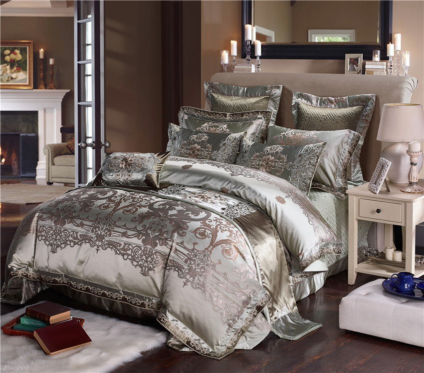 Silver Silk Cotton Satin Jacquard Luxury Chinese Bedding Set Queen King size Bedding Set Bed Sheet/Spread Set Duvet Cover Pillow
