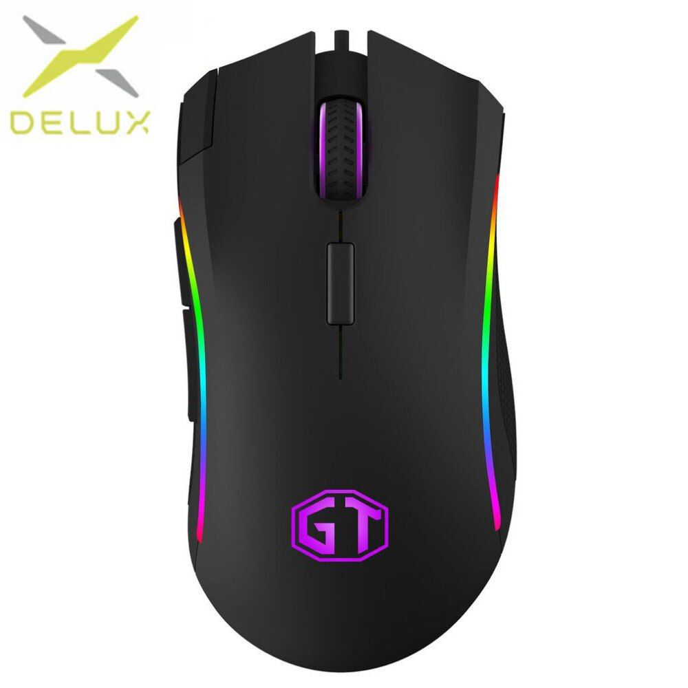 Delux Gaming Mouse M625 PMW3360 Wired usb mouse optical 2500 4000 DPI RGB Light Mice RGB Backlit Desktop For game player