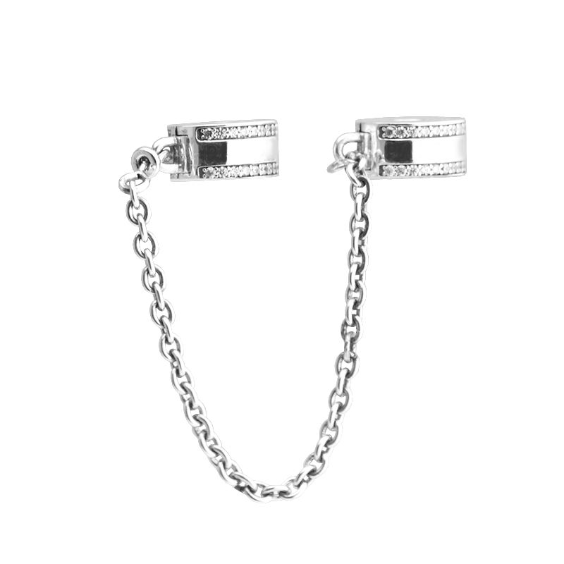 Pandulaso Insignia Safety Chain Clear CZ Beads Stopper Bead Sterling Silver Jewelry Fit European Bracelet for woman Fine Jewelry