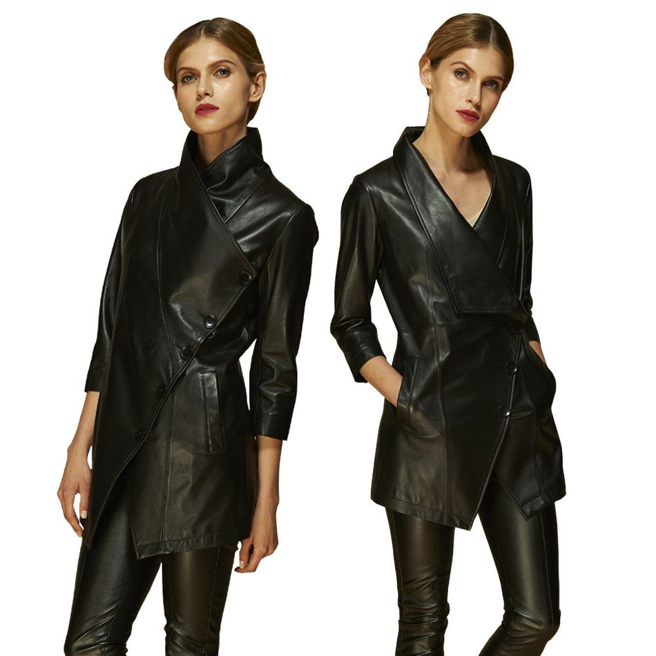 2017 Spring And Autumn Sheepskin Genuine Leather three quarter sleeve windbreaker women's fashion leather coat YF1361