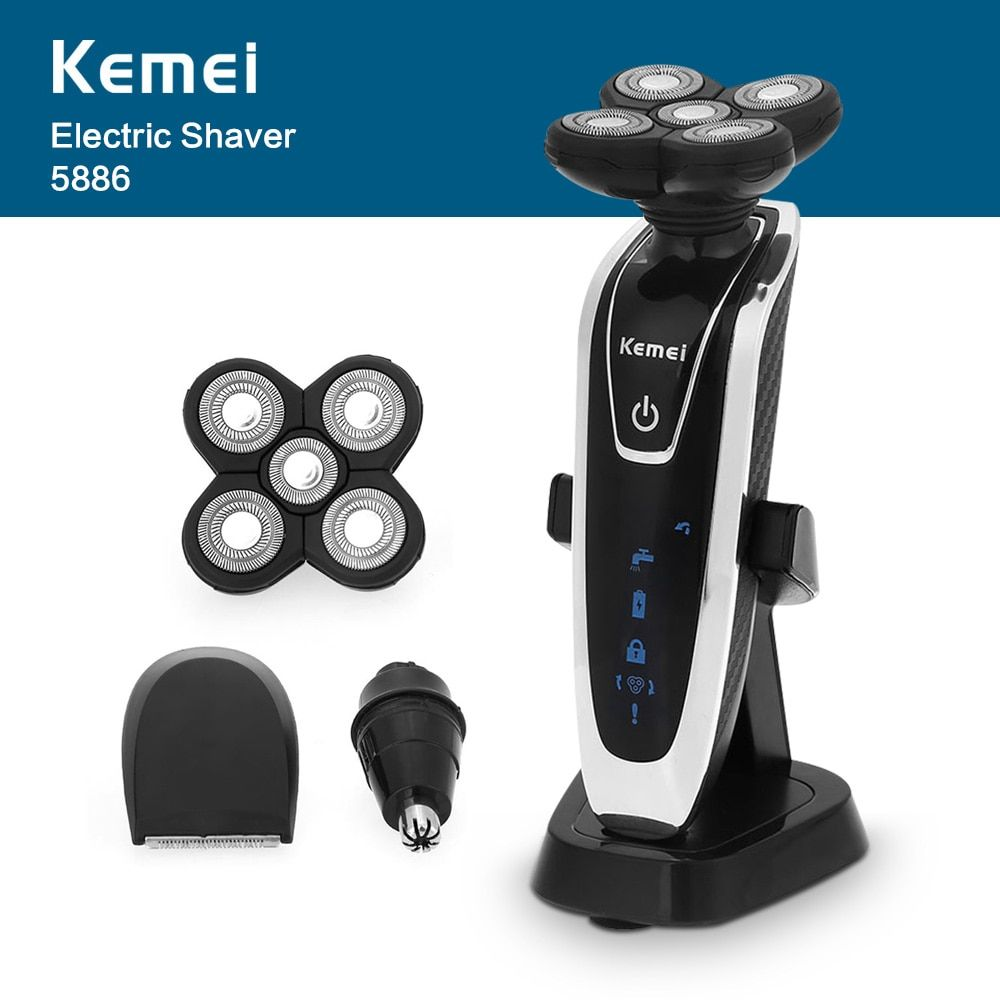 Electric Shaver Kemei 5886 3 in 1 Men Washable Rechargeable 5D Floating Heads Triple Blade Razor with Nose Trimmer Face Care