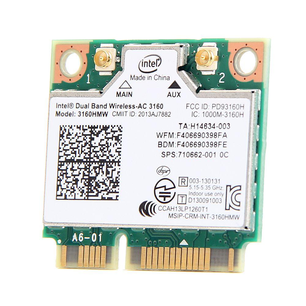 Mini PCI-e Wifi Sans Fil portable bluetooth carte Bi-bande 2.4 ghz 5 ghz Pour Intel 3160 3160HMW 802.11ac Sans Fil AC + Bluetooth 4.0