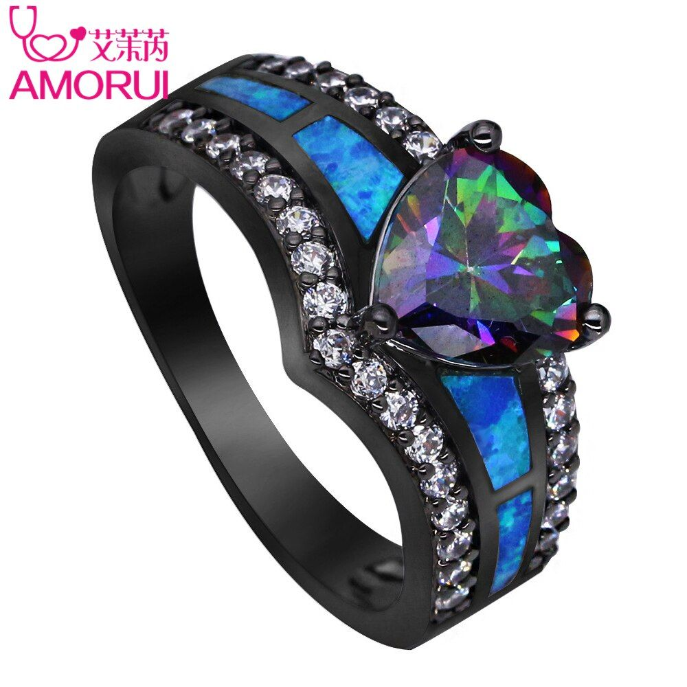 AMORUI Vintage Color Del Arco Iris de Oro Negro Púrpura Verde Azul CZ piedra de Ópalo Del Corazón Anillos De Bodas para Las Mujeres de Moda Anillo de La Joyería regalo