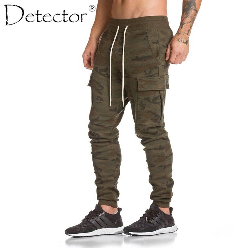 Detector Mens Autumn Winter Running Fitness Pants Sportwear Elastic Drawstring Trousers Multi Pocket Men Outdoor Sport Clothing