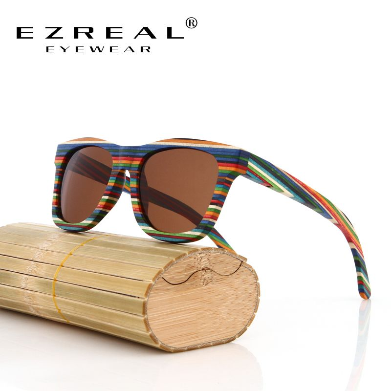 EZREAL Original Wooden Bamboo Sunglasses Men Women <font><b>Mirrored</b></font> UV400 Sun Glasses Real Wood Shades Goggles Sunglases Male