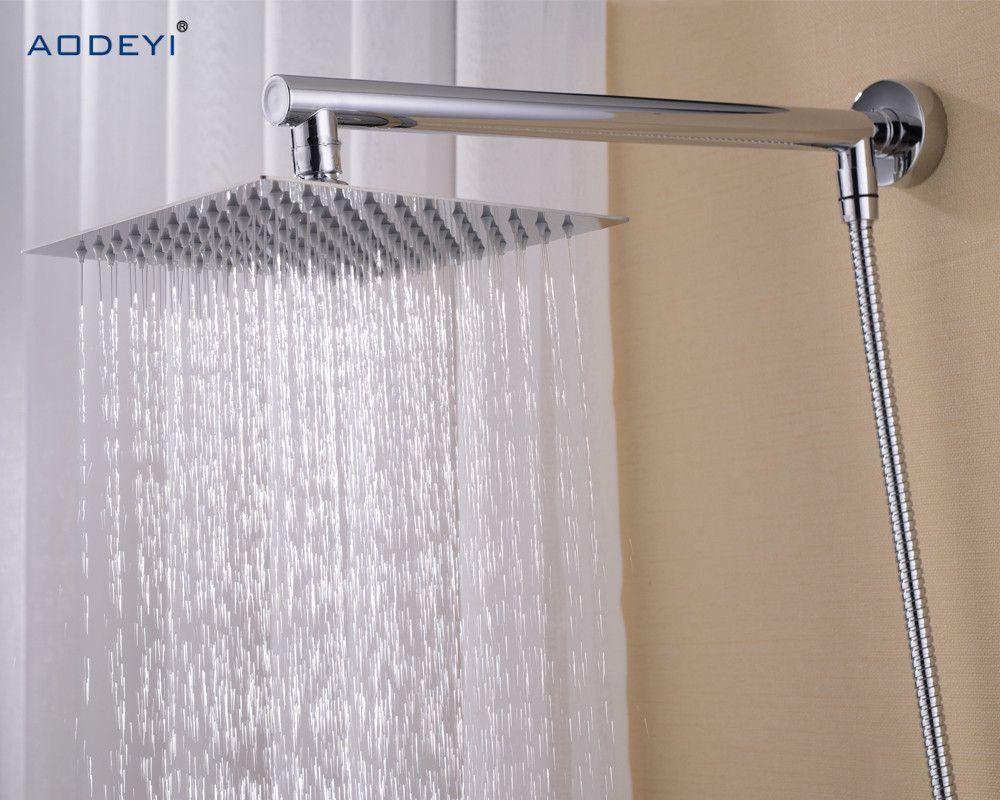 Ванная комната дождь набор для душа, настенные Латунь Душ Arm + квадратный Нержавеющаясталь 8
