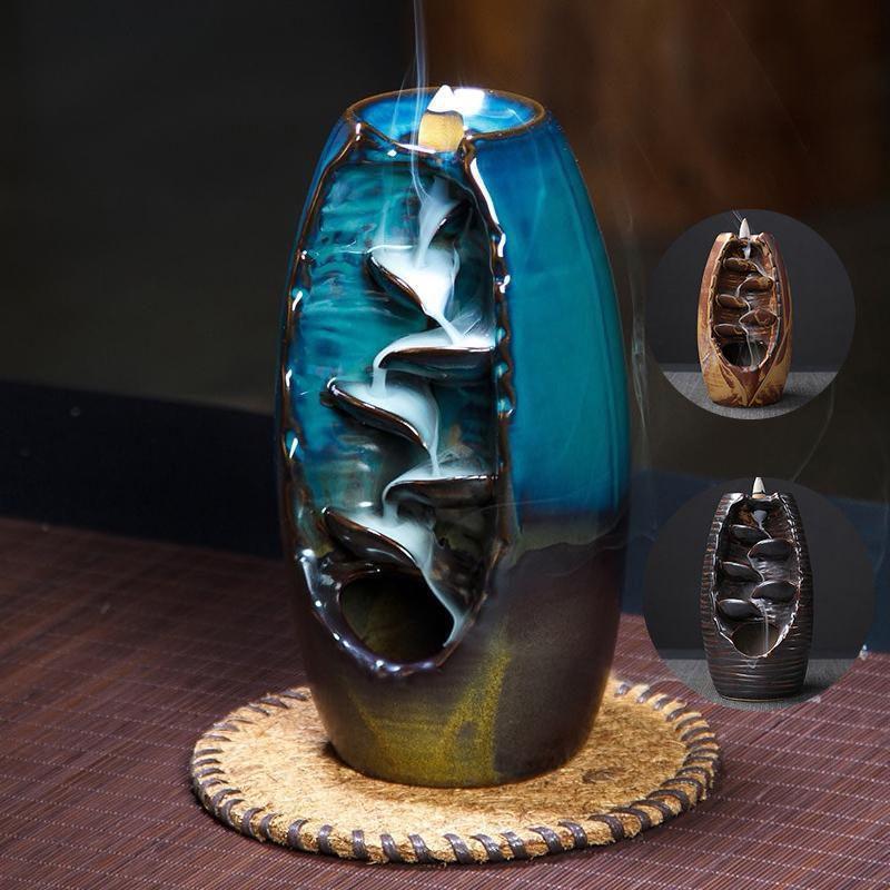 Brûleur d'encens Backflow artisanat de rivière de montagne porte-encens bureau à domicile en céramique aromathérapie artisanat diffuseur d'encens