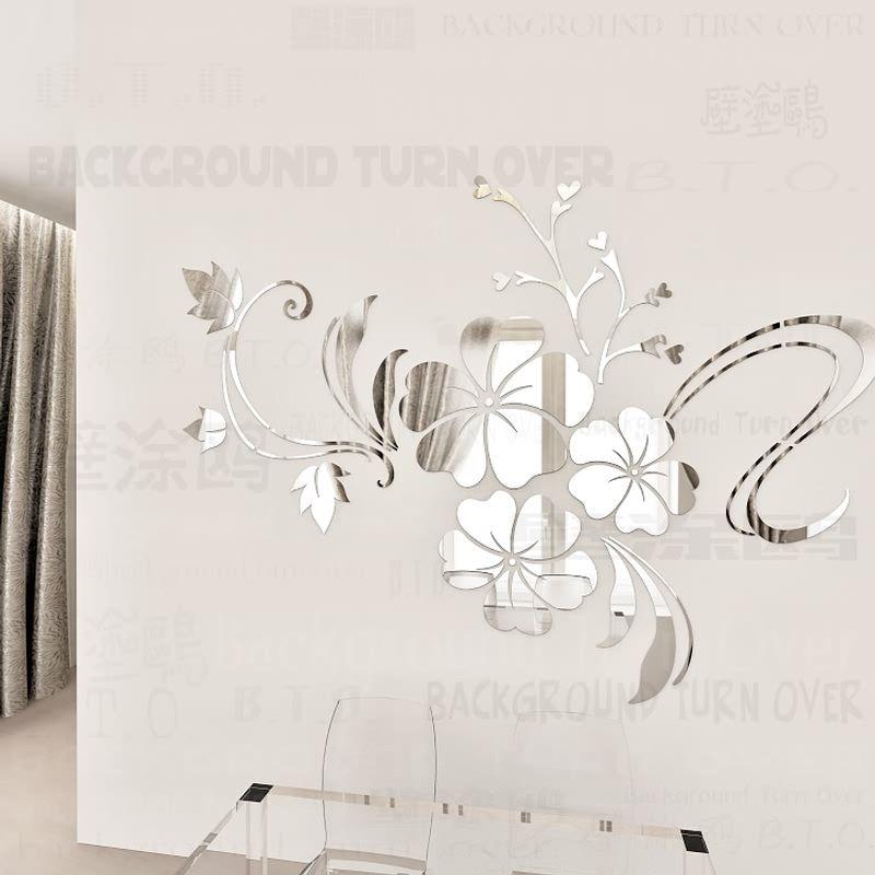 Venta caliente DIY primavera naturaleza flor de hibisco espejo decorativo etiqueta de la pared decoración del hogar 3d mural de la pared decoración de habitaciones tatuajes R076