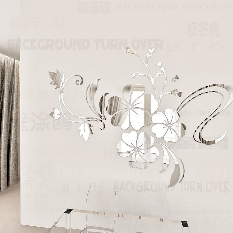 Vente chaude bricolage printemps nature hibiscus fleur miroir décoratif mur autocollant décor maison 3d mur décoration chambre stickers mural R076