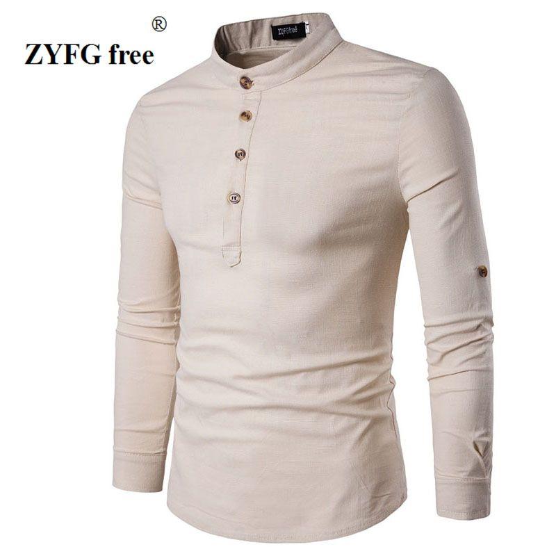 2018 New summer style men fashion slim long sleeved T-shirt personality Button decoration Men's popular mandarin collar t-shirt