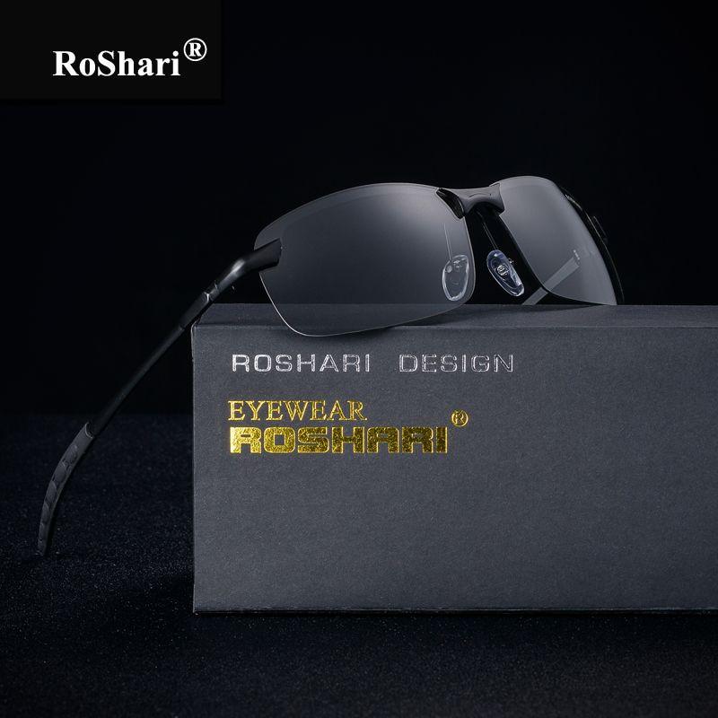 RoShari Chameleon Sunglasses men photochromic All-<font><b>weather</b></font> Discoloration Professional driving Sun glasses men lunette de soleil
