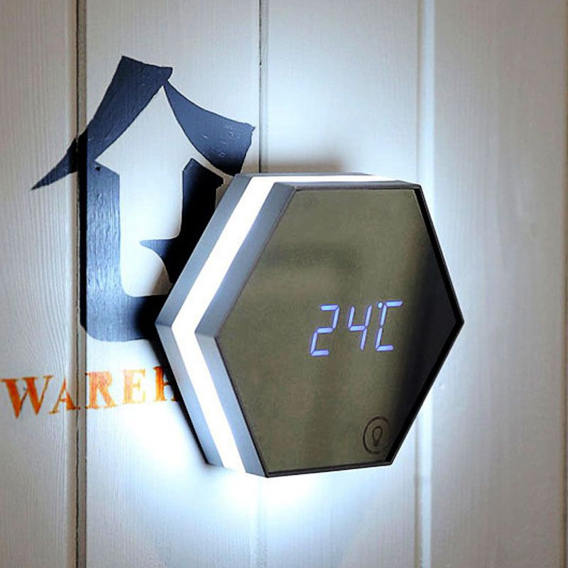 Portable Mirror Alarm Clock Night Light Rechargeable Digital Alarm Clock LED Table Lamp E2S