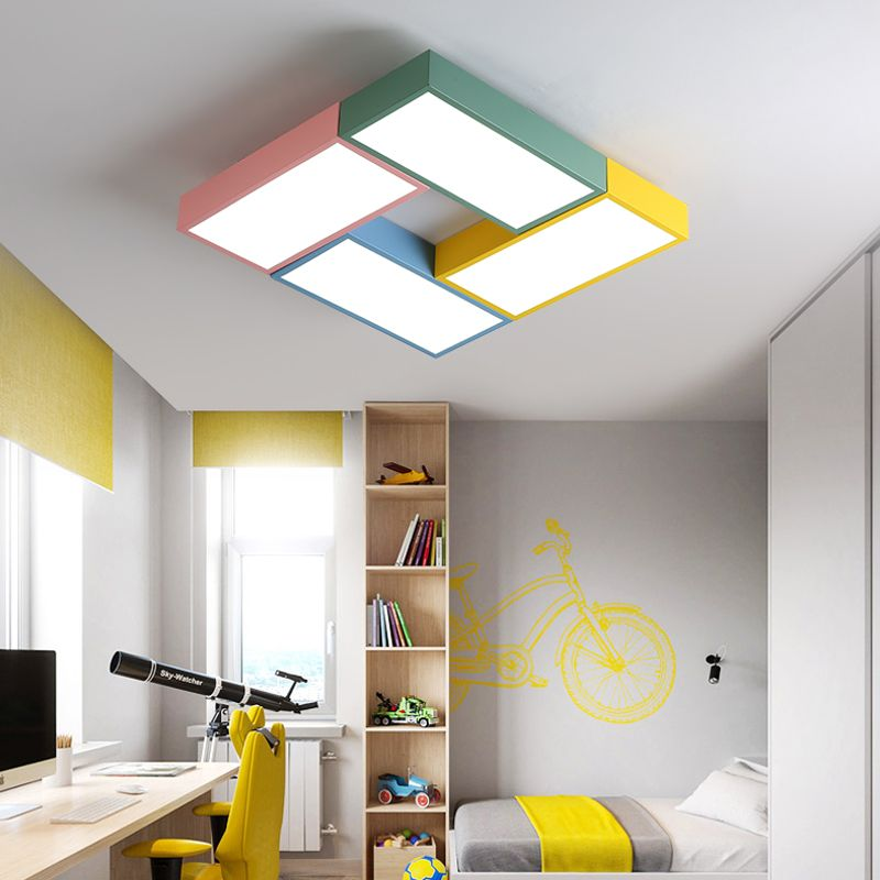 DX Modern Led Ceiling Lights Creative Color Luminaire Children Kids Room Toy Brick Fixture Remote Control Lamp Dimmable Lustre
