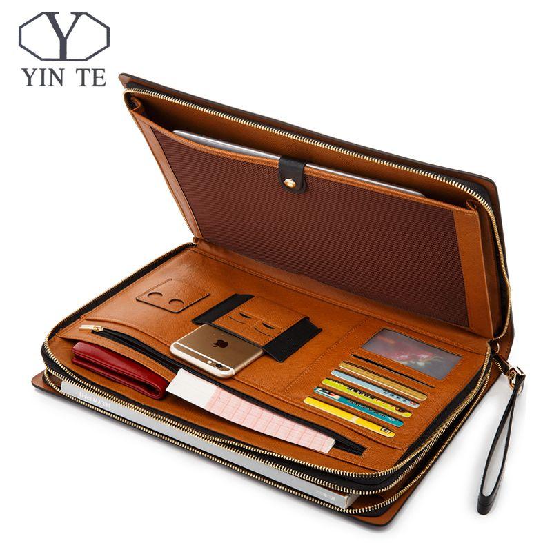 YINTE Business-datei Ordner Leder Abdeckung Ipad/Papier Ordner Dokument Leder Aktenbeutel Lagerung Luxury Business Design Halter T5482