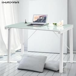 IKayaa Moderne Table De Bureau D'ordinateur Bureau Poste de Travail Trempé Galss Top 120 KG Capacité de Charge Home Office Étude de Mobilier Bureau