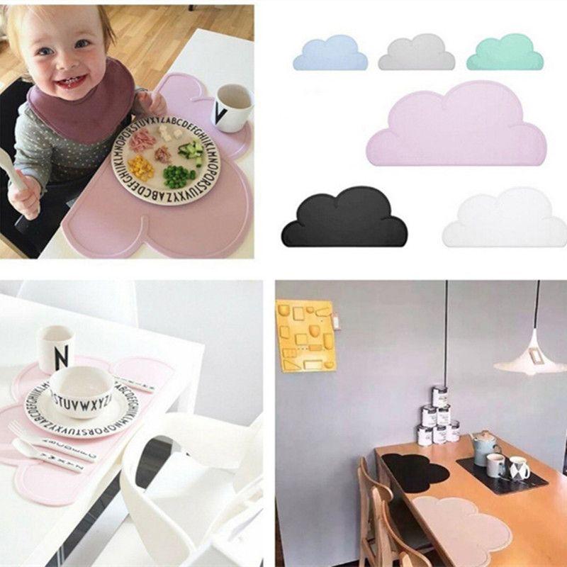 Bebé de Silicona Niños Nube Mantel Manteles De Mesa De Comedor Estera de Tabla Esteras de Alimentos Para Platos de Vajilla