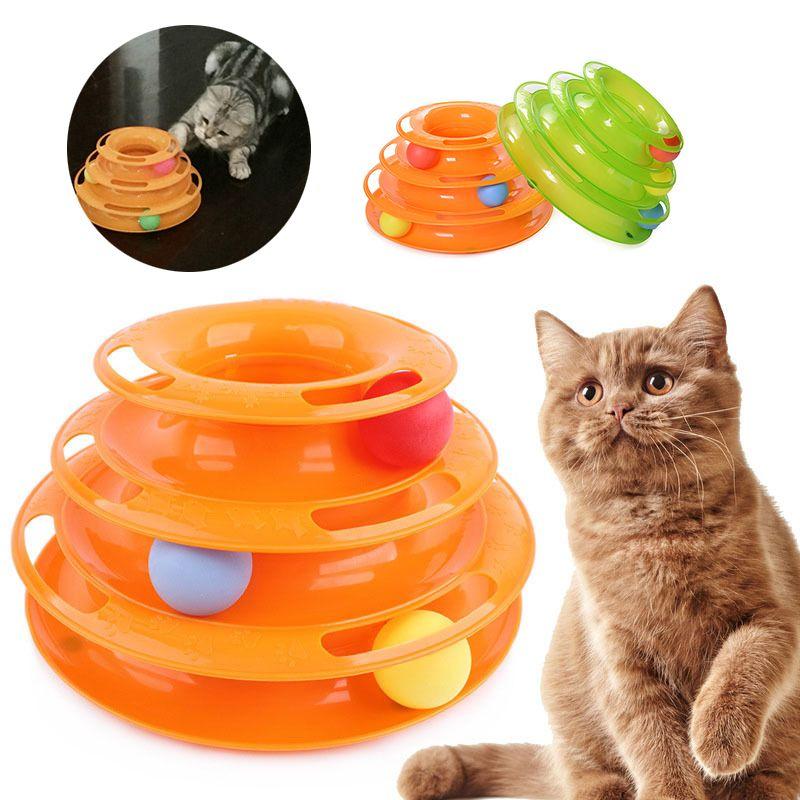 Chat jouet balle Pet jouet chat jouets Intelligence Triple jouer disque trois tour de pistes tourne-disque balle produits pour animaux de compagnie
