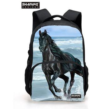Large Children Animal Horse School Bag for Teenager Boys Girls Cool Dog Lion Schoolbag for Kids Fashion Men's Travel Backbag