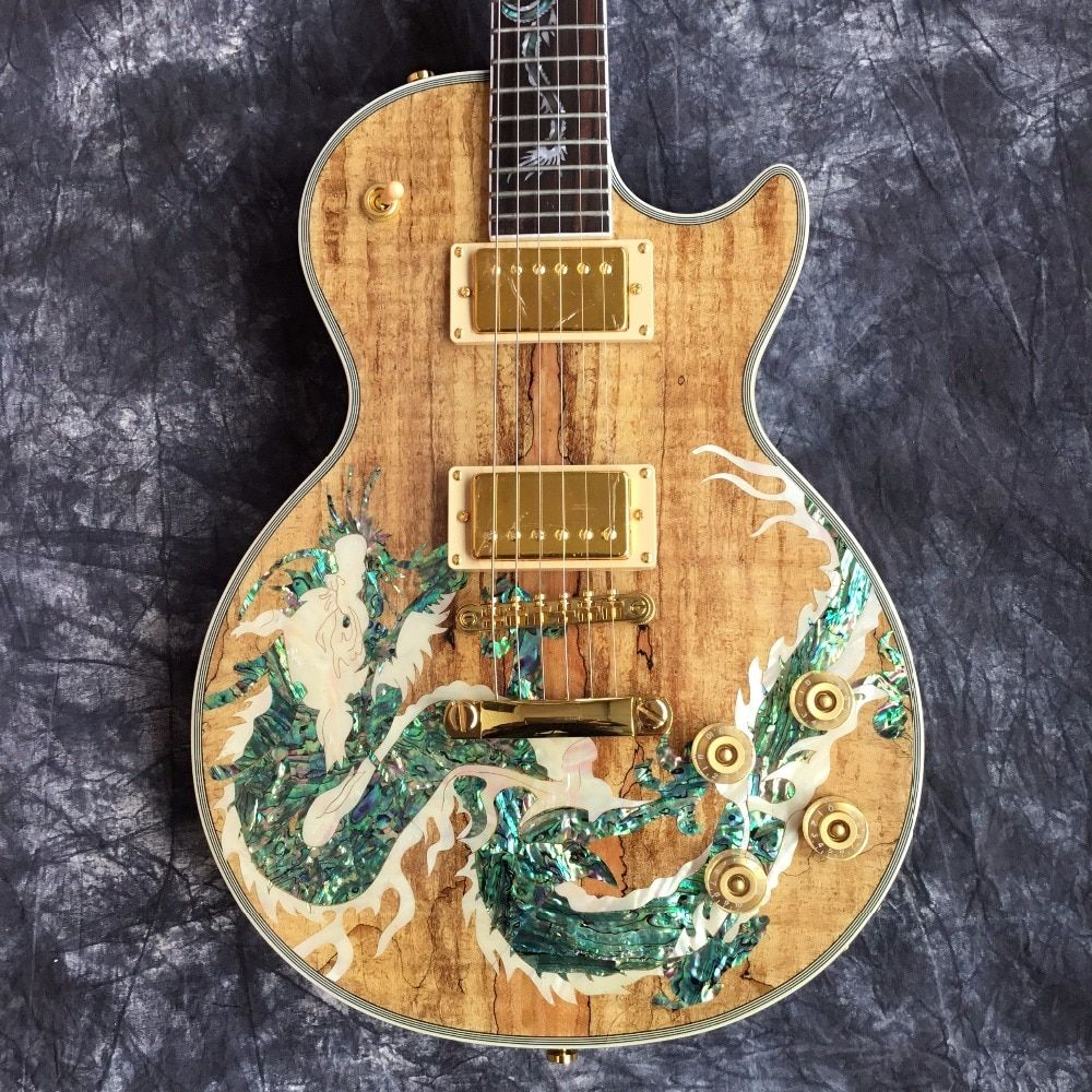 Leader Sales High Quality Wholesale Dragon Pattern Top Custom Electric Guitar & Guitar for Free Shipping