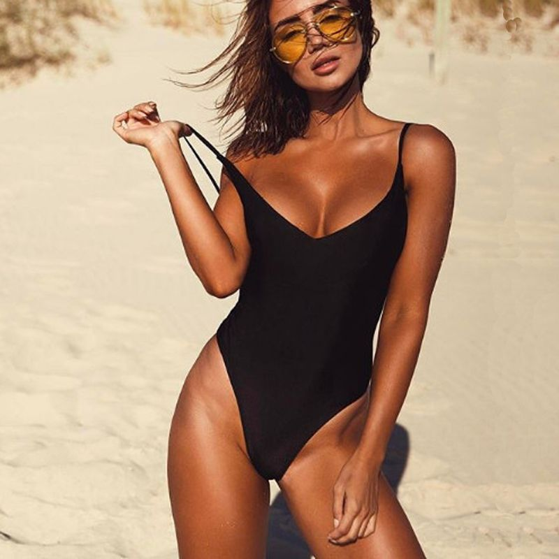 2017 Sexy One Piece Swimsuit May Women Fused Swimwear Female Bather Solid Black Thong Backless Monokini Beach Bathing Suit XL
