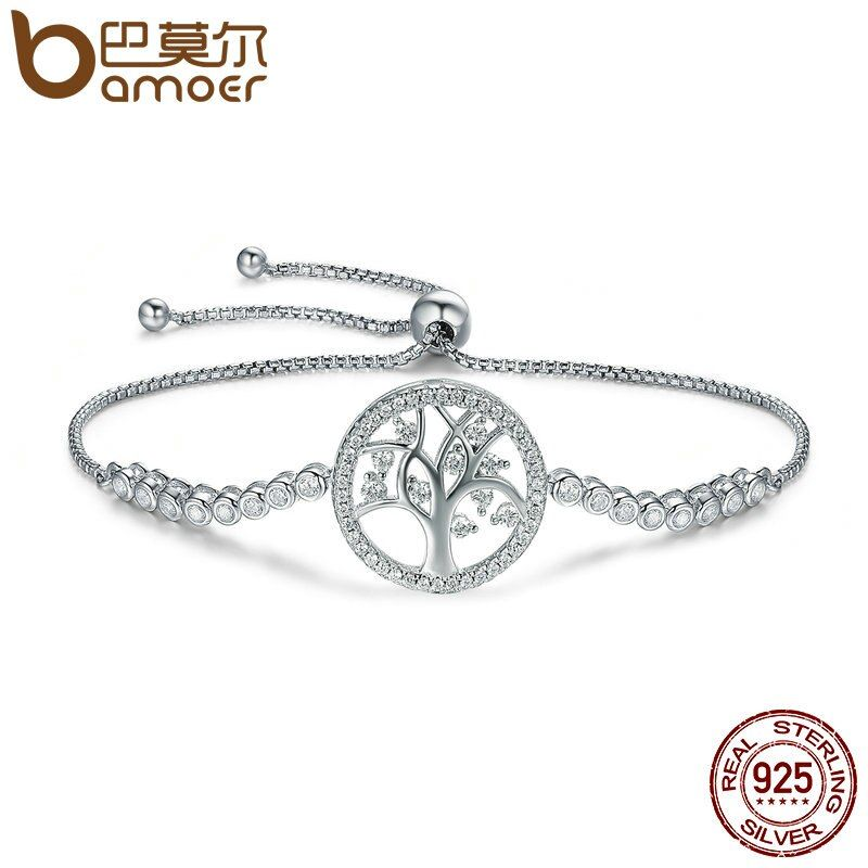BAMOER Heißer Verkauf 100% 925 Sterling Silber Baum des Lebens Tennis Armband Frauen Einstellbar Link Kette Armband Silber Schmuck SCB035