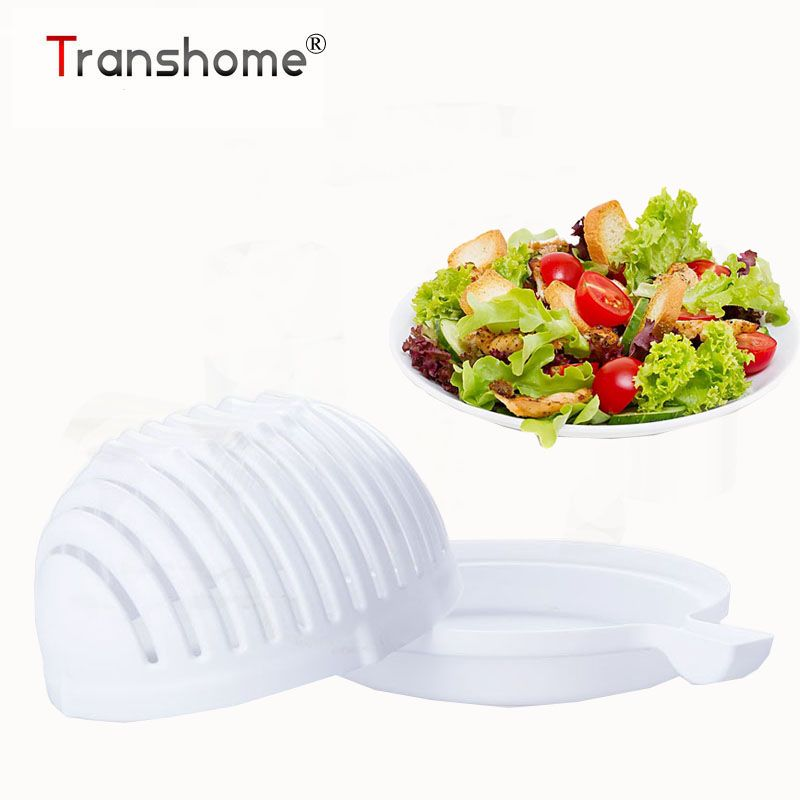 Transhome 60 Seconds Salad Cutter Bowl Easy Salad Maker Tools Fruit Vegetable Chopper Kitchen Tool Gadgets Salad Cutter