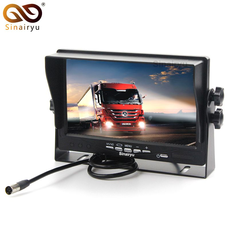 Sinairyu Wholesale 10PCS/Lot HD Digital Screen 800*480 7 Inch TFT LCD Car Parking Monitor With Iron Bracket 2 RCA Video Input