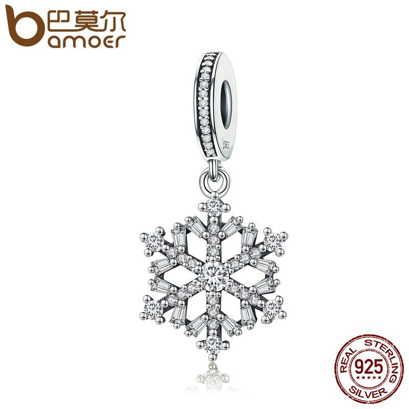 BAMOER High Quality 925 Sterling Silver Snowflake Charms Fit Original Bracelet Women Pendant Jewelry Making SCC266
