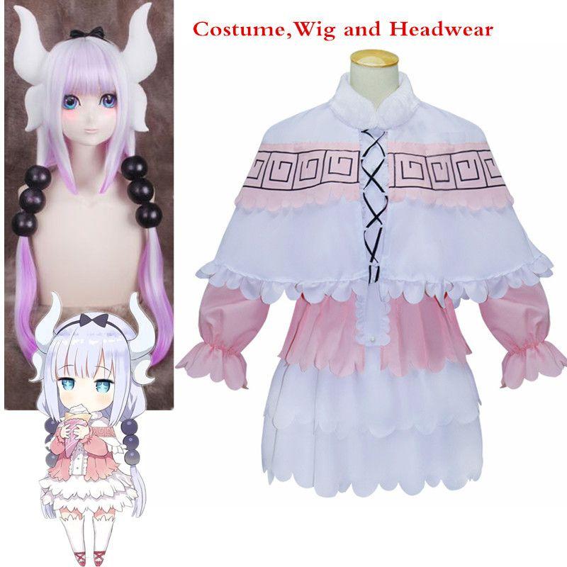 New Anime Kobayashi san Chino Maid Dragon Cosplay Headwear Wig and Costumes Miss Kobayashi's Dragon Maid Kanna Kamui Pink Dress