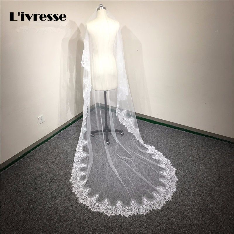 In Stock 3 meters Cheap Long Lace Bridal Veils One layer Wedding Veils Cathedral Bridal Veils White Ivory