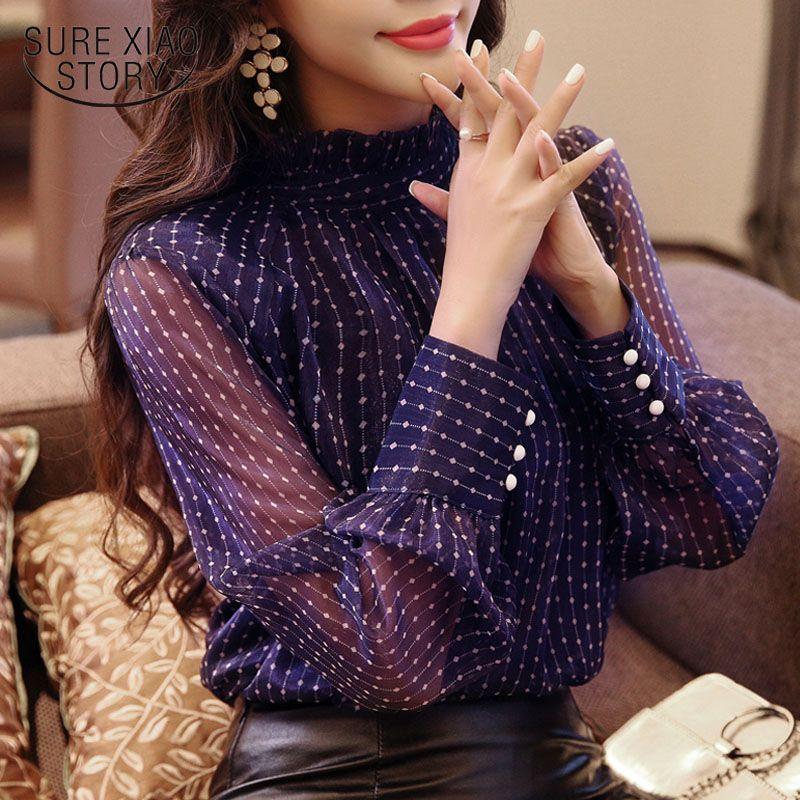 Nouveau arrivé 2018 printemps chemisier femmes chemise à manches longues femme de mode lâche blouse office lady vêtements D468 30