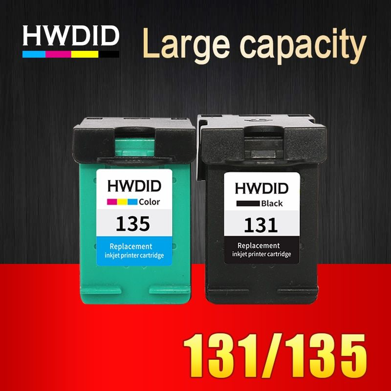 HWDID 2PK Ink Cartridge replacement for HP 131 135 for HP Deskjet 5743 5940 5943 6843 6940 Photosmart 2573 2613 PSC 1600 1613