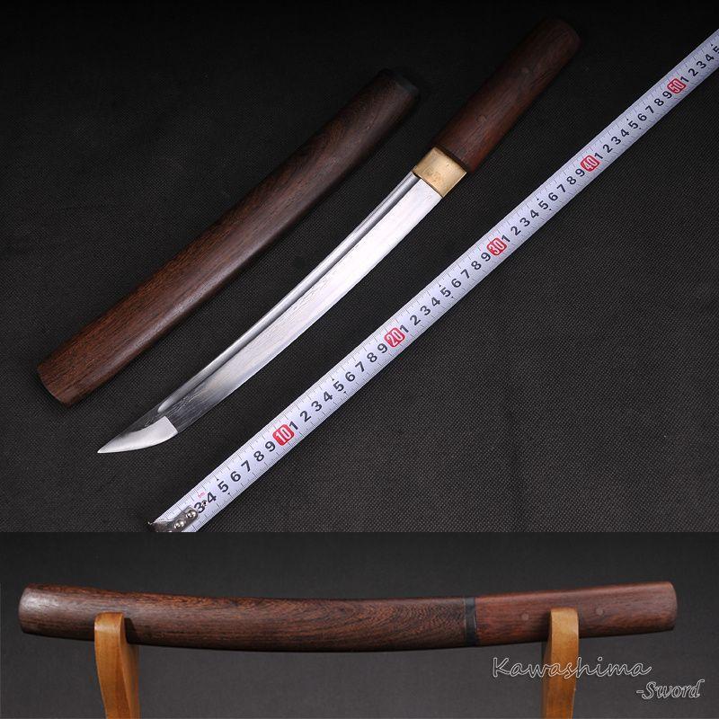 Poignard en acier plié Tanto japonais épée courte fourreau en bois Rose tranchant prêt à couper l'approvisionnement en Tang complet
